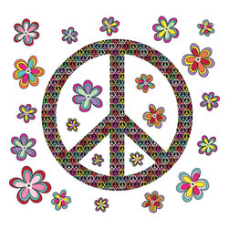 """WallPops - Peace Wall Art Decal Kit - Make a harmonious and pretty statement with the WallPops Peace wall art kit. Starring a dazzling peace sign and several groovy flowers, these wall decals are fun and playful. Peace Kits are printed on two 17 1/4"""" x 39"""" sheets, and contains 29 pieces. WallPops Peace Kits are repositionable and totally removable."""