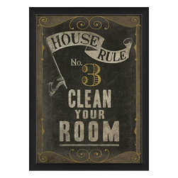 The Artwork Factory - House Rule No 3 Framed Artwork - Ready-to-Hang, 100% Made in the USA, museum quality framed artwork