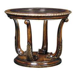 "Marge Carson - Marge Carson Piazza San Marco End Table - The Marge Carson Living Room Piazza San Marco End Table. Accent table with option of clear glass or mirrored top. Diameter: 38"" Height: 29 1/2""   Please allow up to 8 weeks for shipping"