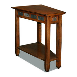 Leick Furniture - End Table in Rustic Oak Finish - Bottom display shelf. Decorative running slate details. Under beveled top. Versatile wedge shape fits perfectly next to recliners. Compact condo or apartment scale. Made from hardwood solids and veneers. Assembly required. 10 in. to 17 in. W x 24 in. D x 24 in. H (26 lbs.)