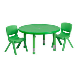 Flash Furniture - Flash Furniture 33 Inch Round Adjustable Green Plastic Activity Table Set - This table set is excellent for early childhood development. Primary colors make learning and play time exciting when several colors are arranged in the classroom. The durable table features a plastic top with steel welding underneath along with height adjustable legs. The chair has been properly designed to fit young children to develop proper sitting habits that will last a lifetime. [YU-YCX-0073-2-ROUND-TBL-GREEN-R-GG]