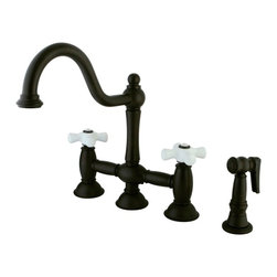 """Kingston Brass - Oil Rubbed Bronze 8"""" Deck Mount Kitchen Faucet with Brass Sprayer KS3795PXBS - This faucet consists of stylish, immaculate body work and a traditional look compliant to those who desire the classic style design. The faucet has a double handle deck mount setup and features an 8"""" centerset platform. The body is fabricated from solid brass for durability and long-lasting use. The color finish is made of oil-rubbed bronze for that dark vintage look, as well as resisting scratches, corrosion and tarnishing. The spout rotates 360 degrees for accessibility and convenience. The handle acts as a 1/4-turn on/off water control mechanism for easy management of water volume and temperature.  The faucet operates with a ceramic disc valve for droplet-free functionality with the water measured 2.2 GPM (8.3 LPM) and a 60 PSI maximum rate.  An integrated removable aerator is inserted beneath the spout's head piece for conserving water flow. A 10-year limited warranty is provided to the original consumer. Brass sprayer included.. Manufacturer: Kingston Brass. Model: KS3795PXBS. UPC: 663370020995. Product Name: 8"""" Deck Mount Kitchen Faucet with Brass Sprayer. Collection / Series: Restoration. Finish: Oil Rubbed Bronze. Theme: Classic. Material: Brass. Type: Faucet. Features: Includes Brass Sprayer"""