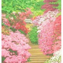 """Azalea Rising"" (Original) By Anthony George - I Love Parks With Lots Of Azalea, Such As This One.  It Had Wooden Steps Up To A Crosspath With A Bench. Light Spring Day."