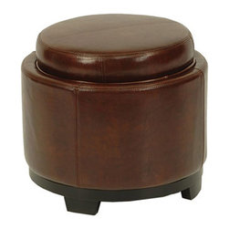 Safavieh - Safavieh Round Storage Tray Ottoman X-C5404DUH - Care Instruction: Although Leather is one of the most durable upholstery materials, proper care is viatal to maintain its appearance and performance. Dust weekly using a soft, clean cloth slightly dampened with distilled water. Blot spills immediately with a soft, clean absorbent dry cloth.