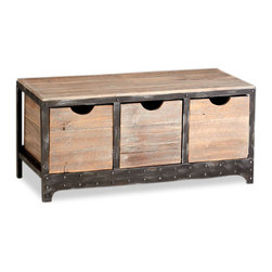 Kathy Kuo Home - Talford Three Drawer Industrial Iron Wood Storage Cabinet - Evocative of beach houses and rustic country homes and lodges, the Talford is as functional as it is attractive.  Riveted details on the front create visual interest, while three deep drawers offer ample storage.