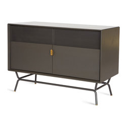 """Blu Dot - """"Blu Dot Dang Media Stand, Risk-Averse Grey"""" - Here's an attractive alternative to leaving your media musts exposed. It's crafted of powder-coated steel with brass details, and those perforated doors won't block your remote (how cool is that!?)."""