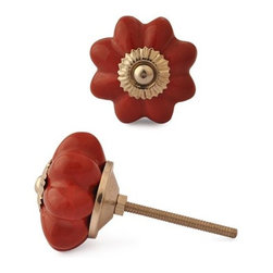 "Knobco - Ceramic Knob, Dark Red - Dark Red Ceramic Knob perfect for  your  kitchen   and bathroom  cabinets! The   knob is 1.6""   in  diameter and includes  screws  for installation."