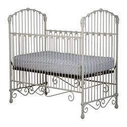 Corsican - Corsican Iron Crib with Flowers & Curls - 43558-101 - Shop for Cribs from Hayneedle.com! The beautiful Corsican Iron Crib with Flowers & Curls will bring a majestic look to your baby's nursery. The side rails are stationary for safety but the mattress height is entirely adjustable. The narrow slats are accented with flowers on the headboard footboard and side rails and delicate curls adorn the bottom rail. The crib is made of wrought iron that is hand-forged by craftsmen dedicated to beauty and quality and it's custom made for you when you order it. It's available in a variety of hand-applied finishes to fit the color scheme of your baby's nursery. Fits a standard size crib mattress (not included). Note: This item can only be shipped within the 48 contiguous states. Dimensions: Crib: 54L x 30.5W x 53H in. Headboard/Footboard: 53H in. Side rails: 40H in. JPMA certified (requirements developed and published by ASTM International). About CorsicanWith a commitment to quality and attention to detail Corsican has been manufacturing iron furniture and accessories for more than 40 years. Their skilled craftsmen uphold a tradition of handcrafted beauty personal care and attention to detail.