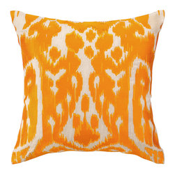 """Trina Turk - Trina Turk Ojai Orange Embroidered Pillow - Modern meets tribal in Trina Turk's square Ojai throw pillow. Its artistic ikat print is embroidered in bright shades of orange. 20""""W x 20""""H; 100% linen; Includes 95/5 feather down insert; Hidden zipper closure; Dry clean only"""