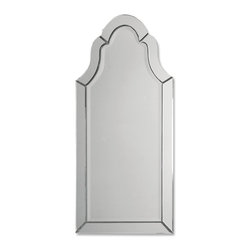 Frameless Arched Mirror - *This frameless, arched mirror has polished edges for a smooth, clean finish.  The etching and v-grooves give wonderful character to this beveled mirror.