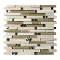 Euro Glass - Symphony Grey Tranquility Random Bricks Cream/Beige Glamour Series Glossy & Fro - Sheet size: 1 Sq. Ft.