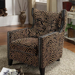 """Armen Living - Tiger Chenille Nail Head Accent Chair - Solid wood frame is glued and corner blocked; Seating features webbing support; Seat height: 19inches; Arm height: 24 inches; Seat depth: 22 inches; Dimensions: 38""""H x 30""""W x 31""""D"""