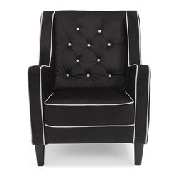 Zuri Furniture - Levi Tufted High Back Lounge Chair, Black - A unique angle on a classic plush side chair, the Levi modern chair evokes subtle, old money tradition with its contrasting black microfiber with cream piping, tufted seat back and curved arms.