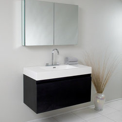 Fresca - Mezzo Modern Bathroom Vanity w Medicine Cabinet - Widespread Faucet Mount (8 in. ). Nested Drawer Storage System (Soft Closing Drawers). P-trap, Faucet, Pop-Up Drain and Installation Hardware Included. With overflow. Sink Color: White. Finish: Black. Sink Dimensions: 21.75 in. x12.38 in. x4.75 in. . Medicine Cabinet: 39.5 in. W x 26 in. H x 5 in. D. Materials: MDF with Acrylic Countertop/Sink with Overflow. Vanity: 39 in. W x 18.63 in. D x 21.5 in. HThis vanity is striking in its simplicity. It features a beautiful widespread chrome faucet. Don't forget to check under the hood with the innovative storage system that includes a nested drawer. It also features a medicine cabinet that can be either wall mounted or recessed into a wall. The Mezzo is a larger version of the Nano Vanity.