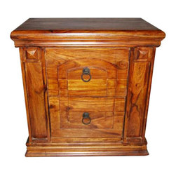 Solid Wood 2 Drawer End Nightstand Bedside Table - Solid wood hand made End / Bedside Table with 2 drawers. Beautifully handcrafted with outstanding wood grain finish.