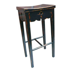 Uttermost Dalit Black Bar Stool - Artisan crafted in solid mahogany, featuring rubbed black finish with red wood undertones. Artisan crafted in solid mahogany, featuring rubbed black finish with red wood undertones.