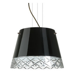 Besa Lighting - Besa Lighting 1KV-4340BC-LED Amelia 3 Light LED Cable-Hung Pendant - Amelia features a tapered drum shape, open at the top, that fits beautifully in transitional spaces. Our Black Hand-cut glass is hand-blown clear glass with a stunning edge cut diamond pattern. The contemporary glossy black finish is a dramatic contrast to the sparkling refractive effect created when the cut edges are illuminated. This blown glass is handcrafted by a skilled artisan, utilizing century-old techniques passed down from generation to generation. The cable pendant fixture is equipped with three (3) 10' silver aircraft cables and 10' AWM cordset, and a low profile flat monopoint canopy.Features: