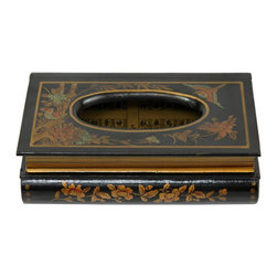Oriental Furniture - Black Lacquer Tissue Box - This fine lacquered box is a practical and attractive cover for your tissue dispenser. Shaped like two stacked books and finished with a medium gloss black lacquer finish, it will add an attractive, sophisticated accent whether used in the dining room, bedroom, bathroom, or office.