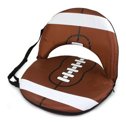 Picnic Time - Oniva Seat Sport Recreational Reclining Seat - Football Design - Football fans will love this recreational reclining seat that's so lightweight and portable. The Oniva Seat Sport has an adjustable shoulder strap and six adjustable positions for reclining. The seat cover is made of brown polyester and has been designed so that the entire seat looks like a larger than life football! The bottom of the seat is black dimpled PVC so as not to soil easily, the frame is steel, and the seat is cushioned with high-density PU foam, which provides hours of comfortable sitting. The Oniva Sport - Football is great for the beach, the park, or as an indoor gaming seat and makes the perfect gift for fans of the great sport Americans call football!
