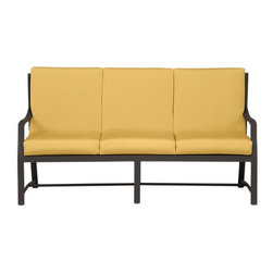 Meridian Sofa with Sunbrella® Daffodil Cushions | Crate&Barrel - There is absolutely no excuse not to have comfortable furniture on your porch, patio, or deck anymore. Start off with an outdoor sofa in daffodil yellow, add some throw pillows, and grab a cocktail table. You'll never want to go back indoors!