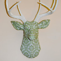 Deer Head Wall Mount - Green and Ivory Damask Fabric - Deer Faux Taxidermy - This is a unique fabric covered deer head wall hanging. I have always thought that deer heads on walls add dimension to a room, but I wanted to create an animal friendly version.