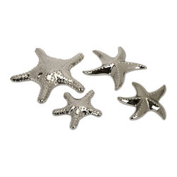 IMAX Worldwide - IMAX Worldwide Cortland Silver Star Fish (Set of 4) - Set of 4 ceramic star fish, gives a nautical feel to any room setting