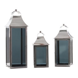 Alliyah Rugs - Smoky Glass Square Lantern Medium - Square candle lanterns. These strong contemporary-style lamps will create a stunning display, especially when several different sizes are grouped together.