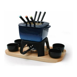 Swissmar - Swissmar Mont Blanc 15-Piece Meat Fondue Set, Blue - Meat fondue set includes pot, 6 forks, rechaud and dual function burner. Features a splatter ring, which is removable for cheese or chocolate fondues.