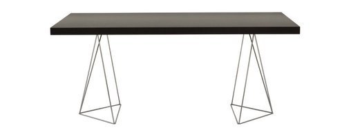 """Temahome - Multi 63"""" Table Top W/ Trestles, Wenge / Chrome - The Multi table has a sleek linear design lending a minimalist complement from the hype and modern dining area to the creative working space. Available in different configurations from legs to tabletops, the Multi could not be named differently for its flexibility is only limited by your creativity."""