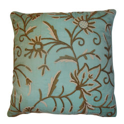 Crewel Pillow Marigold Crystal Blue Silk Organza (20x20)