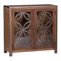 Kathy Kuo Home - Duncan Modern Rustic Solid Wood Forged Iron Cabinet - The Duncan Cabinet has a decorative quatrefoil pattern made of iron that floats on top of the glass doors. This captivating cabinet�۪s natural mindy wood body contrasts a black iron frame. Use it as a wine or bar cabinet or an entertainment cabinet for  a flat screen television.