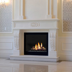 Marble Fireplace Mantels - Gainsville - Elegant and refined, our Gainsville marble mantel was handcrafted to complete your living room. Available in two sizes, it's a beautiful compliment to your space.