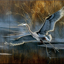The Tile Mural Store (USA) - Tile Mural - Misty Flight - Kitchen Backsplash Ideas - This beautiful artwork by Wilhelm Goebel has been digitally reproduced for tiles and depicts a heron coming in for a landing.  Images of waterfowl on tiles are great to use as a part of your kitchen backsplash tile project or your tub and shower surround bathroom tile project. Pictures of egrets on tile, images of herons on tile and decorative tiles with ducks and geese make a great kitchen backsplash idea and are excellent to use in the bathroom too for your shower tile project. Consider a tile mural of water fowl for any room in your home where you want to add interesting wall tile.