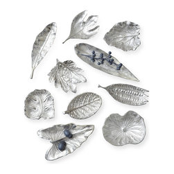 Kathy Kuo Home - Esther Large Silver Foliage Decorative Dishes - Set of 10 - Celebrate fall's bounty with this set of 10 decorative dishes. Food safe and presented in a variety of shapes and sizes, you can use them to hold everything from nuts, olives and cubes of cheese to dinner truffles and petits fours. Made of brass, they add a warm, burnished luster wherever they're set — you can even use them as catchalls around the house.