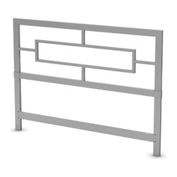 """South Shore - Flexible Metal Headboard - European-inspired full headboard can featuring geometric lines will certainly add elegance to the bedroom. Features: -Can be combined with the 60'' platform bed to form a complete bed..-Straight lines and sleek styling that blend well with any decor.-Manufactured from metal.-Metal construction.-Silver finish.-Flexible collection.-Distressed: No.-Country of Manufacture: Canada.Dimensions: -Overall Height - Top to Bottom: 46"""".-Overall Width - Side to Side: 63"""".-Overall Depth - Front to Back: 4"""".-Overall Product Weight: 41 lbs.Warranty: -Manufacturer provides 1 year."""