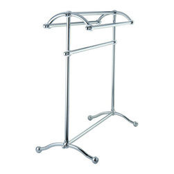 "Kingston Brass - Pedestal Towel Rack - Kingston Brass' bathroom accessories are built for long-lasting durability and reliability. They are designed so you can easily coordinate matching pieces. Each piece is part of a collection that includes everything you need to complete your bathroom decor.; 29-1/2"" tall; 28"" wide; Triple towel rack design; Easy assembly; Matching accessories available; Material: Brass; Finish: Chrome; Collection: Vintage"