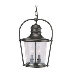 """Troy - Country - Cottage Guild Hall Collection 15 1/2"""" High Outdoor Hanging Light - The Guild Hall outdoor hanging light is part of Troy Lighting's exciting Williamsburg collection inspired by the decorative traditions of 18th century America. This exquisite design is crafted from solid brass and presented in an English bronze finish. Clear seeded glass displays glowing fixtures within. A classic design which lends historic style to your outdoor spaces. Solid brass construction. English bronze finish. Clear seeded glass. Takes two 60 watt candelabra bulbs (not included). 15 1/2"""" high. 10 3/4"""" wide. 9 1/2"""" deep.  Design by Troy lighting.  Outdoor hanging light perfect for covered porches.  Solid brass construction.   English bronze finish.   Clear seeded glass.   Takes two 60 watt candelabra bulbs (not included).   Damp location rated only.  15 1/2"""" high.   10 3/4"""" wide.   9 1/2"""" deep."""