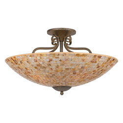 Quoizel - Quoizel MY1723ML Monterey Mosaic Traditional Semi Flush Mount Ceiling Light - The lovely mosaic design on the glass shades is made from genuine pen shell, bringing the beauty of nature into your home. The playful curls of the metal body add a whimsical element to the overall style. Its looks as wonderful in a beach house as it does in a modern loft.
