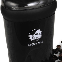 La Pavoni - Coffee Mill Grinder in Black Finish - Perfect for grinding beans, spices or condiments. Stainless steel chamber and blade. Made of sturdy ABS high impact plastic locking top. 1-Year warranty. 6.25 in. H