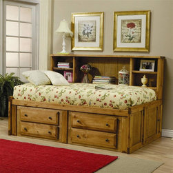 Coaster - Wrangle Bookcase Bed - Twin bed. 80 in. L x 51 in. W x 49 in. H. Warm amber wash finish. Made from solid pine. Casual style. Bookcase headboard features five shelves. Four under-bed storage drawers. Simple knob hardware. WarrantyFunctional space saving designs pair with inviting style to compose a practical youth bookcase bed. Create a comfortable atmosphere your child will enjoy with this bookcase twin bed.
