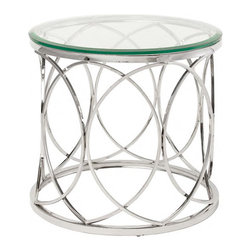Polished Stainless Steel Round Side Table - Polished Stainless Steel Round Side Table