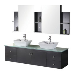 "Design Element - Design Element Portland 72"" Wall Mount Double Vessel Sink Vanity Set - Espresso - The 72"" Portland Double Vanity set is elegantly constructed of solid hardwood. The tempered glass counter top brings a clean and contemporary look to any bathroom. Seated at the base of the double ceramic designer sinks are chrome finished pop up drains designed for easy one touch draining. Two matching framed mirrors and shelves are included. Built into the vanity are four additional drawers and two cabinets adorned with satin nickel hardware."