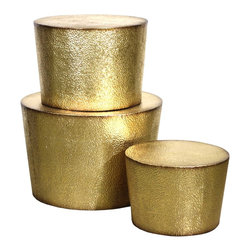 Vertuu Design - Desta Metal Accent Tables, Gold (Set of 3) - Give your furniture a bold, chic update using this set of Desta Metal Accent Tables. Featuring a textured gold finish and circular shape, these tables make the perfect addition to a living or dining room. Display them individually or stack them atop one another for a dynamic, layered effect. Pair them with contemporary decor for a cohesive look.