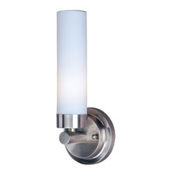 Maxim Lighting - Maxim Lighting Cilandro Modern / Contemporary Wall Sconce X-NSTW60035 - Genteel and smooth, this contemporary wall pendant creates tranquil impressions to soothe raw and otherwise haywire nerves. The white glass shade cylinder is sophisticated, comforting, and radiant for your hall, apartment, dining room, bedroom, lounge, living room, office, bungalow, kitchen, foyer, basement, cellar, restaurant, or den. The satin nickel finish is strong and reassuring.