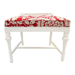 Pre-owned Antique Red Cotton Damask Spindle Leg Bench - Gorgeous spindle leg vanity bench with cotton damask fabric with self welt and white satin finish. The perfect accent to your bedroom or dressing area.
