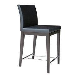 """sohoConcept - Aria Wood Stool (24 in. Dark Grey Wool Fabric - Fabric: 24 in. Dark Grey Wool FabricA stylish bar and counter stool with a comfortable upholstered seat. Backrest on solid beech legs tipped with screwed plastic caps. Chromed steel footrests, it is an ideal stool for bars and counters. Seat has a steel structure with """"S"""" shape springs for extra flexibility and strength. Steel frame molded by injecting polyurethane foam. Seat is upholstered with a removable velcro enclosed leather, PPM or wool fabric slip cover. Suitable for both residential and commercial use. Pictured in Black Leatherette with Wenge Finish Legs. Counter Stool: 21 in. D x 17 in. W x 36 in. H, Seat Height: 24 in.. Bar Stool: 21 in. D x 17 in. W x 42 in. H, Seat Height: 29 in."""