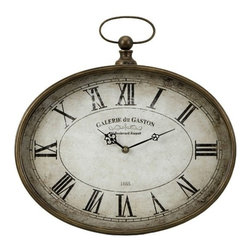"""IMAX - Jefferson Clock - Old world pocket watch inspired wall clock with roman numerals. Item Dimensions: (16.25""""d)"""