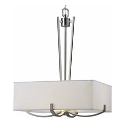 Canarm - Palmer Brushed Nickel Three-Light Chandelier - Palmer is sharp edges and smooth lines complimented by  brushed nickel finish, white fabric shade and frosted glass diffuser  - No Bulb Included   - 1 year - Limited Warranty Canarm - ICH422A03BN18