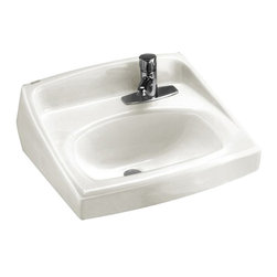 "American Standard - American Standard 0356.439.020 Lucerne Wall-Mount Sink, White - American Standard 0356.439.020 Lucerne Wall-Mount Sink, White. This wall-hung lavatory is constructed of vitreous china, and includes a front overflow, a concealed wall-hanger mounting, a D-shaped bowl, a self-draining deck area with contoured back and side splash shields, and a faucet ledge. This model comes with a single, right-centered faucet mounting holes, and it measures 20-1/2"" by 18-1/4"", with a 6-1/2"" bowl depth."