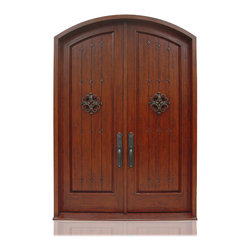 "Old World Collection | 2736 | 1-2 - Species: Knotty Alder, Distress: Tuscany, Iron Work: Medium Bronze,  Hinges: 10.-5"" Ball Bering Hinges ORB, Exterior Door"